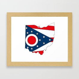 Map of Ohio with State Flag Framed Art Print