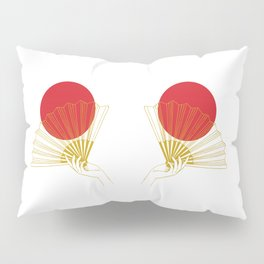 Japan Flag Retro Red Gold Vintage Minimalist Geometric Hand Fan Pillow Sham