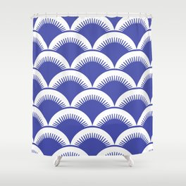 Japanese Fish Scales Blue Shower Curtain