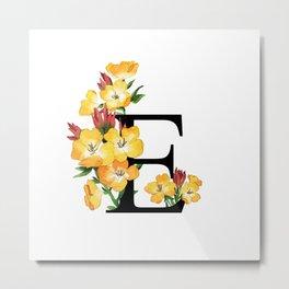 Letter 'E' Evening Primrose Flower Monogram Typography Metal Print