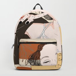 Fashion Graphic Girl with a Bright Smile, Abstract hand drawn shapes background Backpack