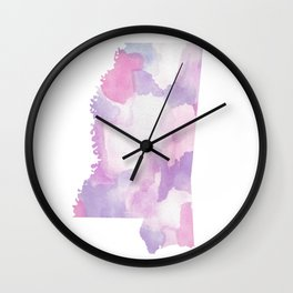 Watercolor State Map - Mississippi MS purples Wall Clock