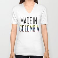 colombia V-neck T-shirts featuring Made In Colombia by VirgoSpice