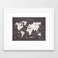 gray Framed Art Prints featuring The World Map by Mike Koubou