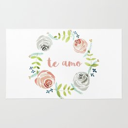 'I Love You' in Spanish - Floral Wreath Rug