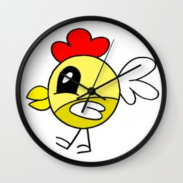 Drawn by hand a funny little chicken for children and adults Wall Clock