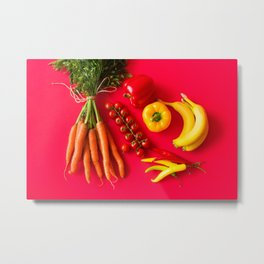 Red Background Still Life Metal Print