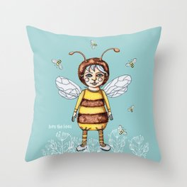Love the BEES Whimsical Bee Girl Throw Pillow