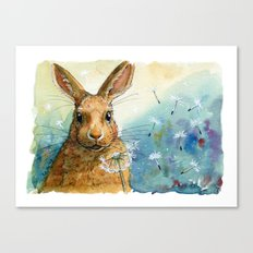 Funny rabbits - With Dandelions 548 Canvas Print
