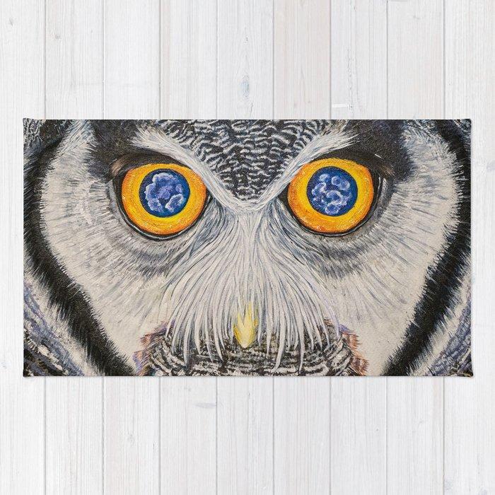 Dreaming of freedom - owl eyes Rug