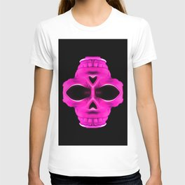 pink psychedelic skull portrait with black background T-shirt