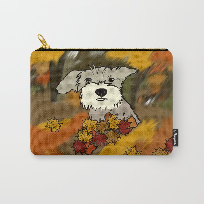 Buck The Schnauzer In Fall Leaves Carry-All Pouch