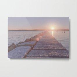 Pink pastel sunset on the break water Metal Print