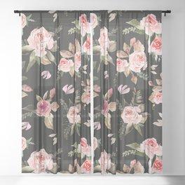 Pink flowering in the dark I Sheer Curtain