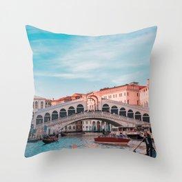 Venice Bridge of Sighs with gondola Italian photography Throw Pillow