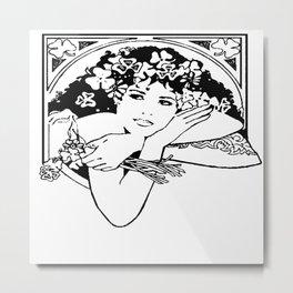 Line Drawing of Irish Woman Holding Shamrocks Metal Print