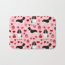 English Springer Spaniel love hearts valentines day gifts for dog person pet friendly pet portrait Bath Mat