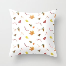 Autumn Fall Leaves Print Throw Pillow
