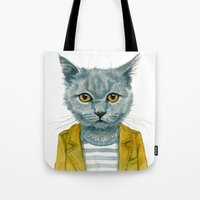 kitty Tote Bags featuring Kitty by Leslie Evans