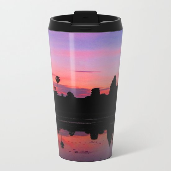 Angkor Wat Sunrise Reflection Metal Travel Mug