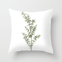 Baby Blue Eucalyptus Watercolor Painting Throw Pillow