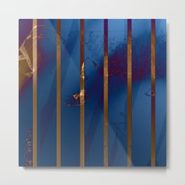 Electric Blue Abstract with Gold Stripes Metal Print