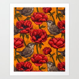 Wrens in a red anemone garden     Art Print