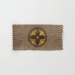 Seal of Shamash - Wood burned with gold accents Hand & Bath Towel