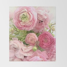 Shabby Chic Cottage Ranunculus Peonies Roses Floral Print Home Decor Throw Blanket