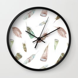Feather collection in nature colors Wall Clock