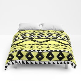 Aztec Pattern 2 Black & Yellow Comforters