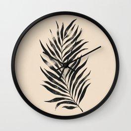 Botanical Tropical Branch 01 - Ink & Buttercream Wall Clock