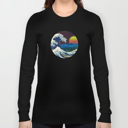 Synthwave Space #9: The Great Wave off Kanagawa Long Sleeve T-shirt