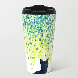 Cat in the garden under willow tree Travel Mug