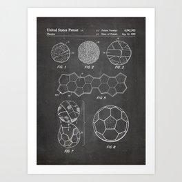 Soccer Ball Patent - Football Art - Black Chalkboard Art Print