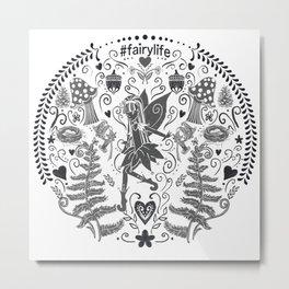 Life of a Fairy: Petalwink Medallion | Black Metal Print