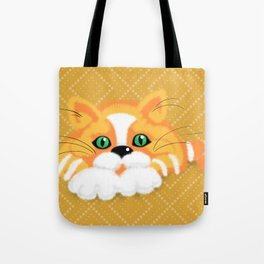 Cute Fluffy Ginger and white cat Tote Bag