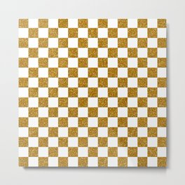 Gold Glitter Checked Texture Metal Print