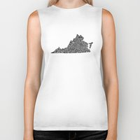 virginia Biker Tanks featuring Typographic Virginia by CAPow!