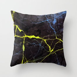 Beyond Gold and Blue Marble Throw Pillow
