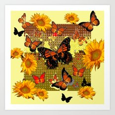 Abstracted Black & Orange Monarch Butterflies & Sunflowers Art Print
