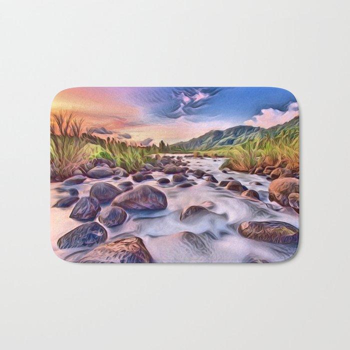 Gorgeous Epic River in Landscape with Rocks Bath Mat