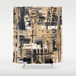 Black and Gold abstract painting Shower Curtain