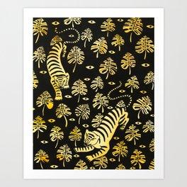 Tiger jungle animal pattern Art Print