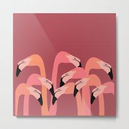 flamingo flock Metal Print