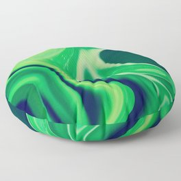 Harmonious Greens Swirls and Cells - Abstract Art, Digital Fluid Art Floor Pillow