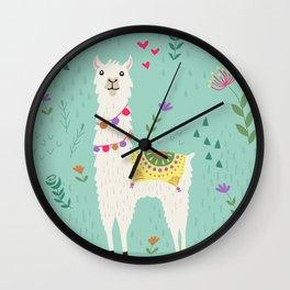 Festive Llama Wall Clock