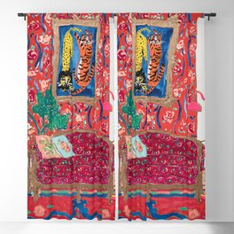 Red Interior with Lion and Tiger after Matisse Blackout Curtain