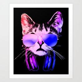 DJ Cat in Neon Art Print
