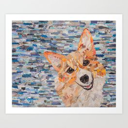 corgi on blue background Art Print